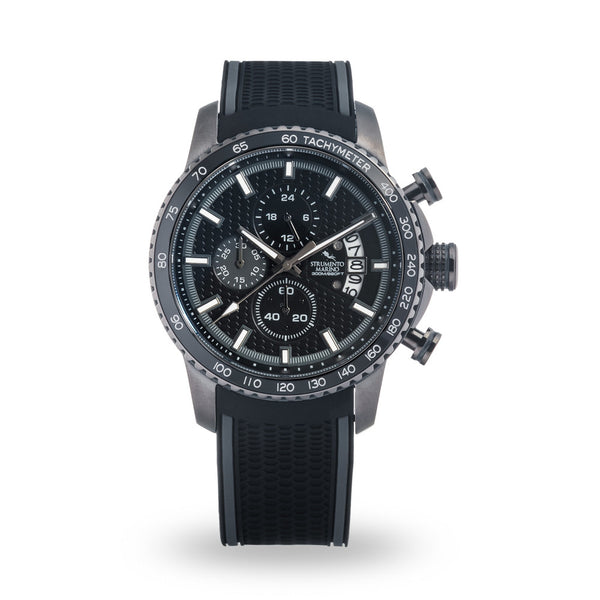 Strumento Marino Freedom Black Silicone Strap Chrono Diver Watch