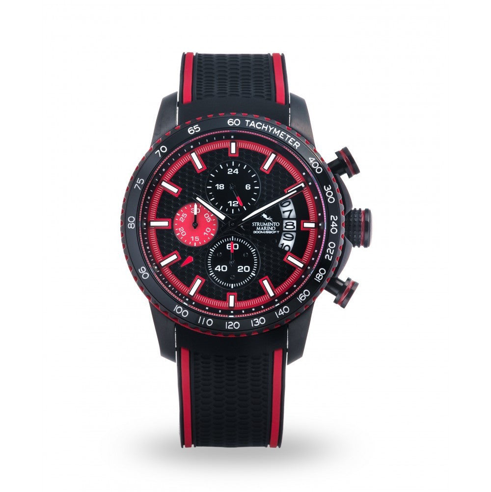 Strumento Marino Freedom Red & Black Silicone Strap Chrono Diver Watch | 101.Watch