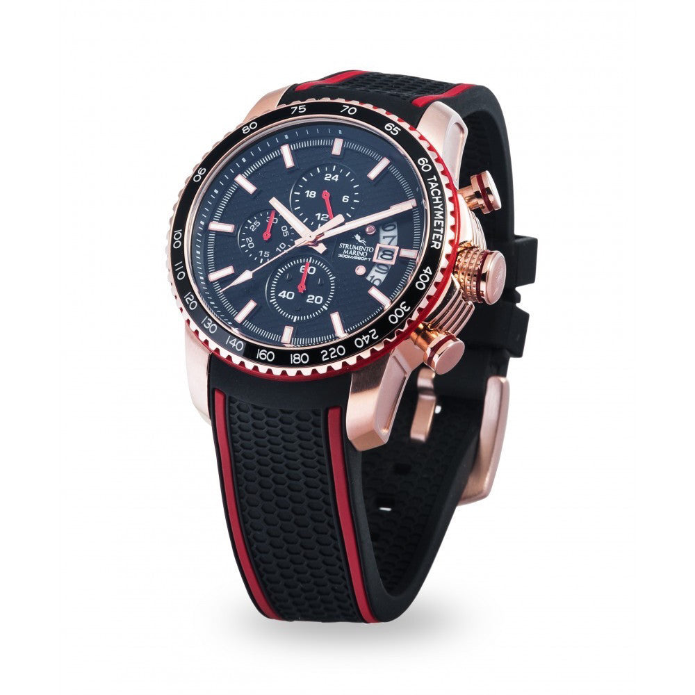 Strumento Marino Freedom Rose Gold & Black Silicone Strap Chrono Diver Watch | 101.Watch