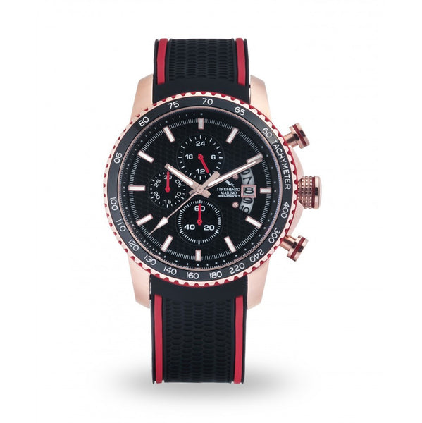 Strumento Marino Freedom Rose Gold & Black Silicone Strap Chrono Diver Watch