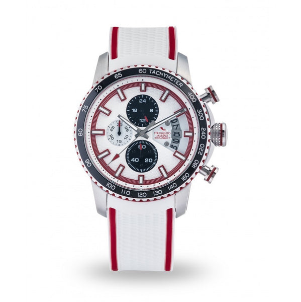 Strumento Marino Freedom Red & White Silicone Strap Chrono Diver Watch