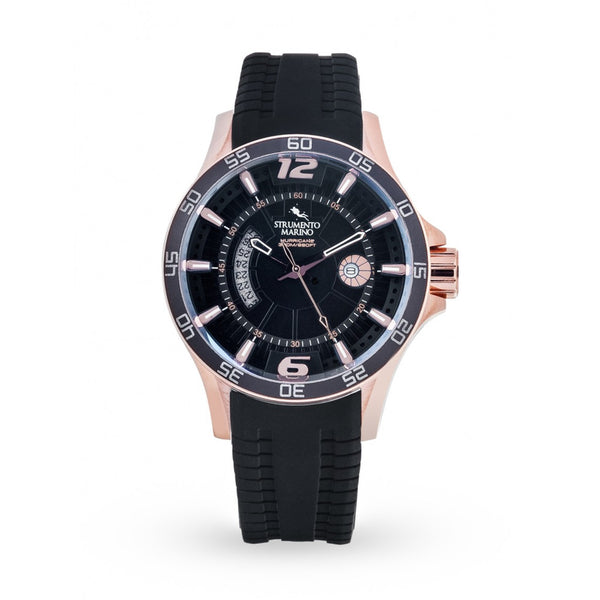 Strumento Marino Hurricane Rose Gold & Black Silicone Strap Diver Watch