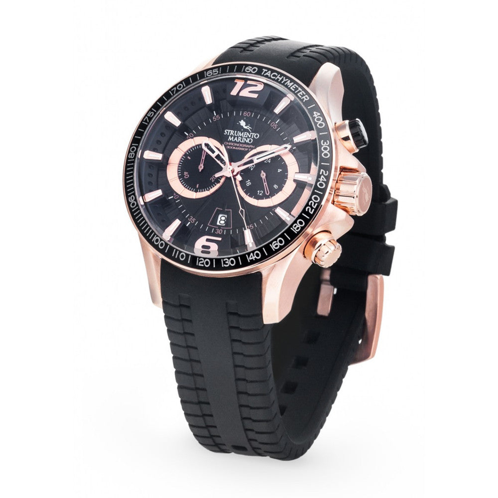 Strumento Marino Hurricane Rose Gold & Black Silicone Strap Chrono Diver Watch | 101.Watch