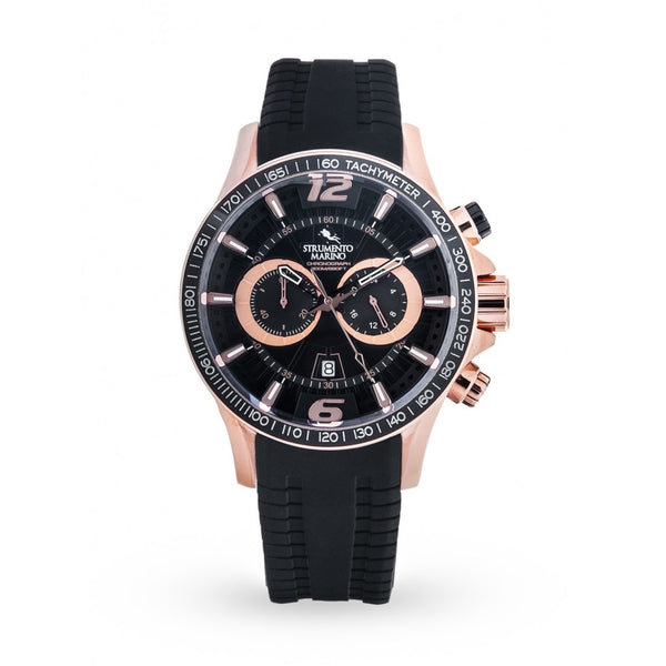 Strumento Marino Hurricane Rose Gold & Black Silicone Strap Chrono Diver Watch