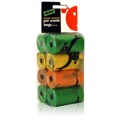Lemon Scented Biodegradable Waste Pick-Up Bags - 8 Refill Rolls - BD Luxe Dogs & Supplies