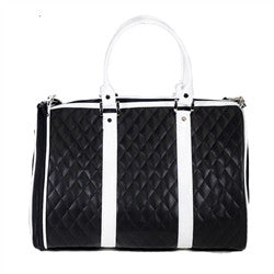 Black & White Quilted Luxe JL Duffel - BD Luxe Dogs & Supplies