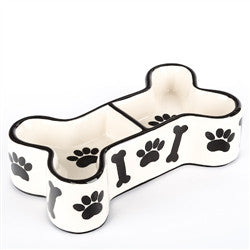Black & White Ceramic Bone Shaped Dog Bowl - BD Luxe Dogs & Supplies