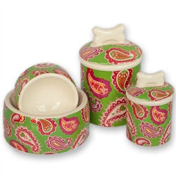 Palm Beach Paisley Bowls & Treat Jars Collection - BD Luxe Dogs & Supplies