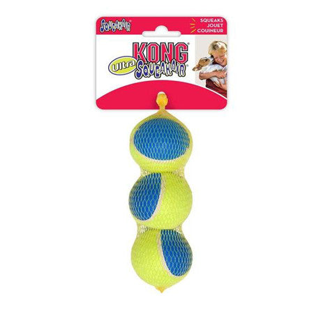 3 PACK MEDIUM ULTRA SQUEAK AIR KONG TENNIS BALLS