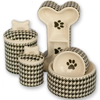 Personalized Houndstooth Bowls & Treat Jars Collection* - BD Luxe Dogs & Supplies - 1
