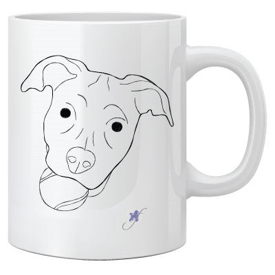 Dog With A Ball Two-Sided Mug, pack of 4, by Dog Fashion Living - BD Luxe Dogs & Supplies - 1
