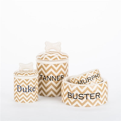 Personalized Chevron Bowls and Treat Jars Collection* - BD Luxe Dogs & Supplies - 1