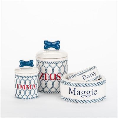 Personalized Nautical Bowls and Treat Jars Collection* - BD Luxe Dogs & Supplies - 1
