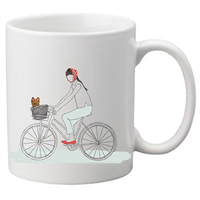 Dog On A Bike Two-Sided Mug, pack of 4, by Dog Fashion Living - BD Luxe Dogs & Supplies - 1
