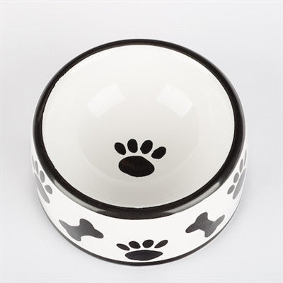 Black & White Ceramic Paws/Bones Dog Bowls & Treat Jars - BD Luxe Dogs & Supplies - 1