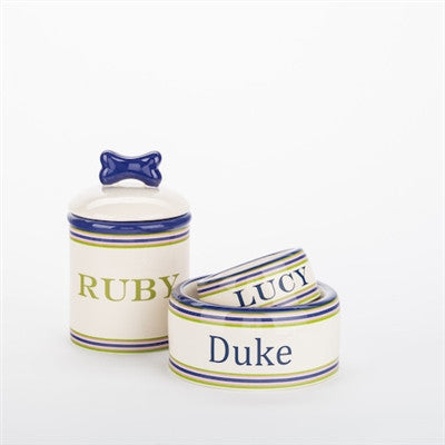 Personalized Preppy Stripe Bowls & Treat Jars Collection* - BD Luxe Dogs & Supplies - 1