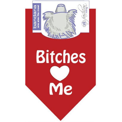 Bandana Bitches Love Me Red by Dog Fashion Living - BD Luxe Dogs & Supplies