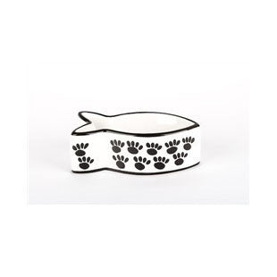 Black & White Ceramic Fish Shaped Cat Bowl - BD Luxe Dogs & Supplies