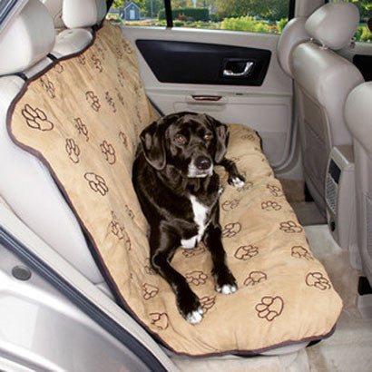 CAMEL BROWN PAWPRINT BENCH CAR SEAT COVER - BD Luxe Dogs & Supplies - 1