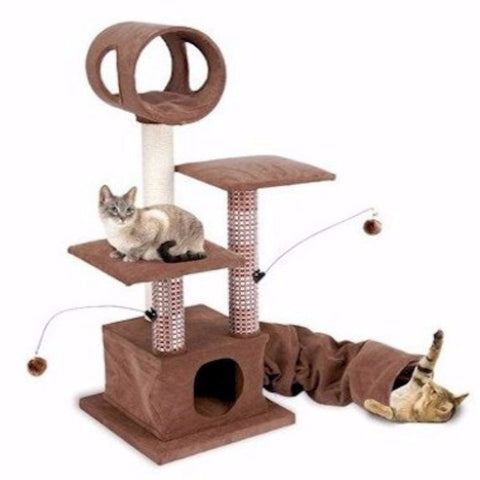 Activity Lounging Tower with Tunnel and Hide Away - BD Luxe Dogs & Supplies