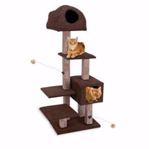 Dual Hide Away Lounge Tower with Bamboo Rubbing Posts - BD Luxe Dogs & Supplies