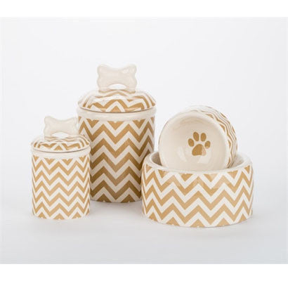 Chevron Bowls and Treat Jars Collection - BD Luxe Dogs & Supplies - 1