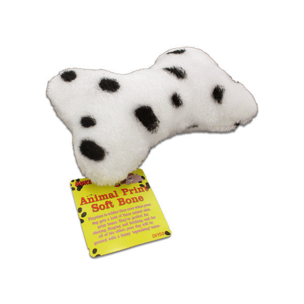 Squeaking Soft Dog Bone with Animal Print