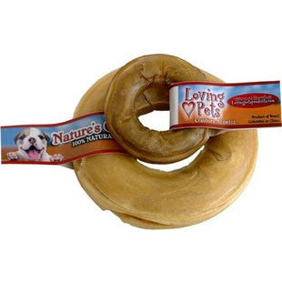 LOVING PET NATURES CHOICE PRESSED RAWHIDE DONUT 6IN - BD Luxe Dogs & Supplies - 1
