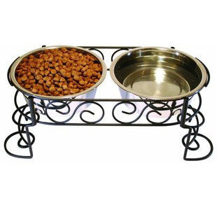 ETHICAL PET MEDITERRANEAN STAINLESS STEEL DOUBLE DINER 2 QUART - BD Luxe Dogs & Supplies