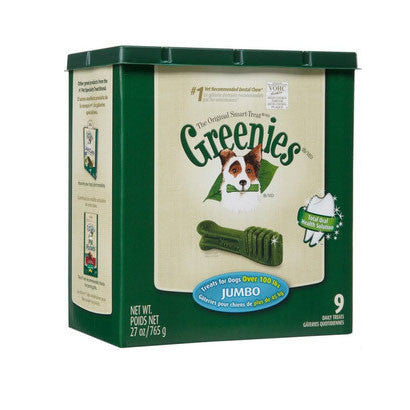 GREENIES 27OZ CANISTER DOG TREATS SIZE JUMBO 9 PACK - BD Luxe Dogs & Supplies
