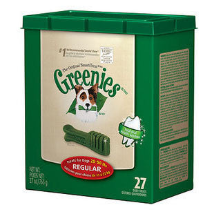 GREENIES 27OZ CANISTER DOG TREATS SIZE REGULAR - BD Luxe Dogs & Supplies