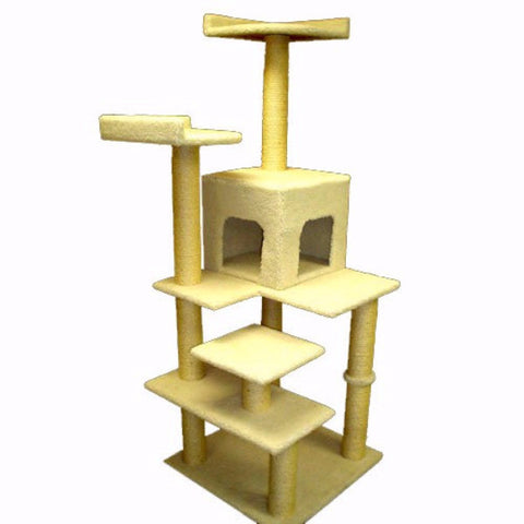 Majestic 66 Inch Bungalow Cat Tree - BD Luxe Dogs & Supplies