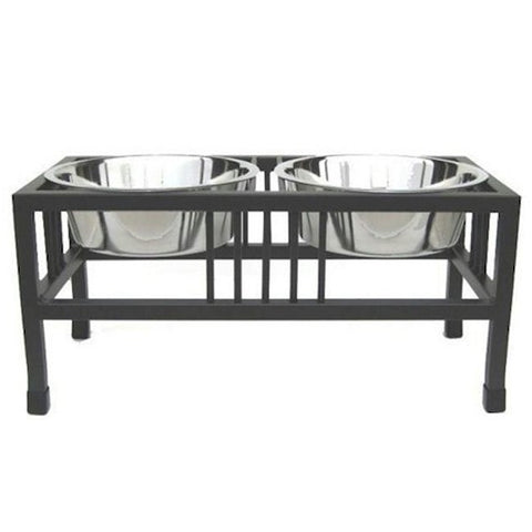 Baron Double Raised Dog Bowl - Extra Large - BD Luxe Dogs & Supplies