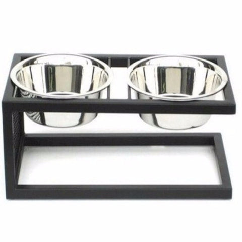 Cantilever Double Elevated Dog Bowl - Small - BD Luxe Dogs & Supplies