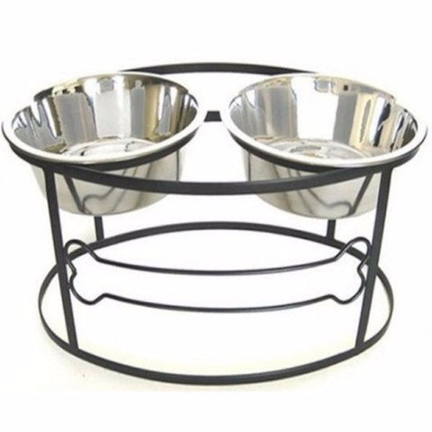 Bone Raised Double Dog Bowl - Medium - BD Luxe Dogs & Supplies