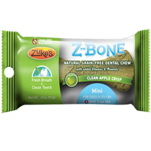 ZUKES Z-BONES CLEAN APPLE CRISP MINI DENTAL CHEW 1 PACK - BD Luxe Dogs & Supplies