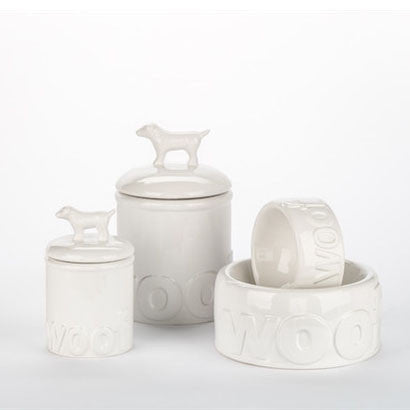 Woof Ceramic Bowls & Treat Jars - BD Luxe Dogs & Supplies - 1