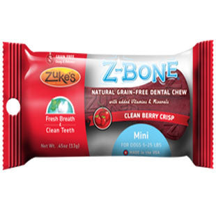 ZUKES Z-BONES CLEAN CHERRY BERRY MINI DENTAL CHEW 1 PACK - BD Luxe Dogs & Supplies