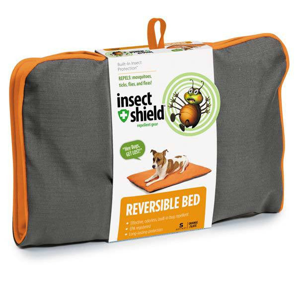 INSECT SHIELD REVERSIBLE DOG BED ORANGE GRAY MEDIUM 29 INCH
