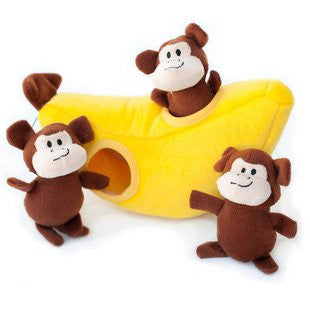 ZIPPY PAWS BURROWS MONKEY N BANANA PUZZLE TOY - BD Luxe Dogs & Supplies - 1