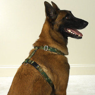 GREEN CAMO NYLON DOG HARNESSES - BD Luxe Dogs & Supplies