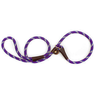 PURPLE CONFETTI LARGE MENDOTA BRITISH STYLE SLIP LEAD 1/2 X 6 FT - BD Luxe Dogs & Supplies