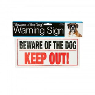BEWARE OF THE DOG 10 INCH PLASTIC WARNING SIGN