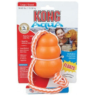 KONG AQUA ORANGE FLOATING DOG TOY WITH ROPE - BD Luxe Dogs & Supplies