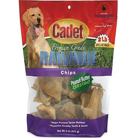 CADET PEANUT BUTTER RAWHIDE CHIPS 2LB BAG