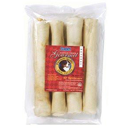 CADET PREMIUM NATURAL RAWHIDE RETRIEVER ROLLS 1 POUND 4 PACK