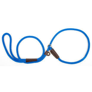 BLUE LARGE MENDOTA BRITISH STYLE SLIP LEAD 1/2 X 4 FT - BD Luxe Dogs & Supplies