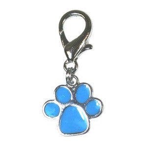 BLUE PAWPRINT FANCY ENAMEL DOG COLLAR CHARM - BD Luxe Dogs & Supplies