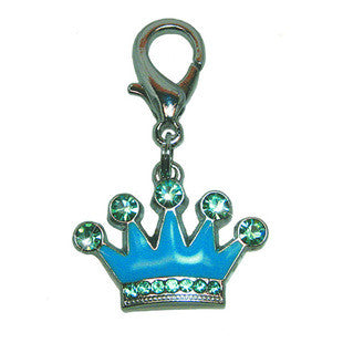 BLUE CROWN ENAMEL WITH JEWELS DOG COLLAR CHARM - BD Luxe Dogs & Supplies