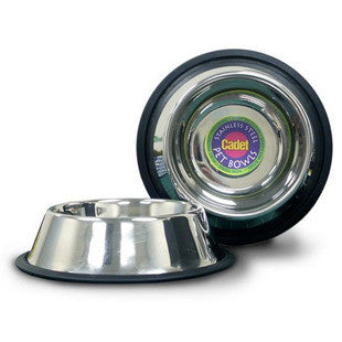 CADET 12 CUP HEAVY DUTY STAINLESS STEEL NON TIP DOG BOWL 96OZ - BD Luxe Dogs & Supplies